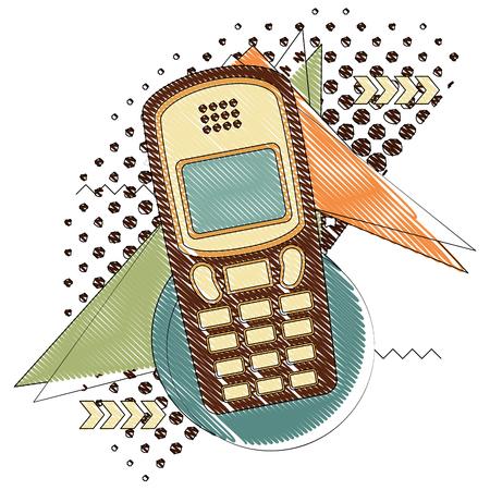vintage retro device cellphone halftone image vector illustration