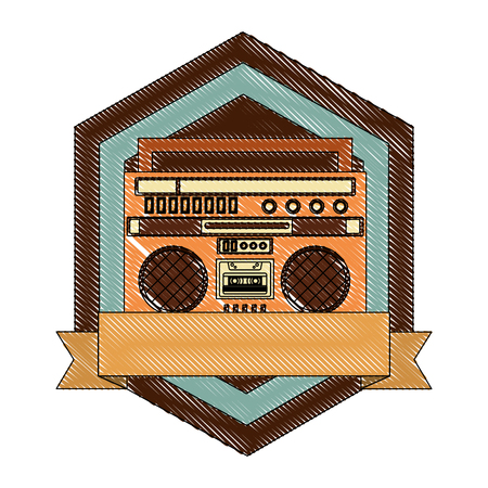 cassette radio player device vintage emblem vector illustration  drawing
