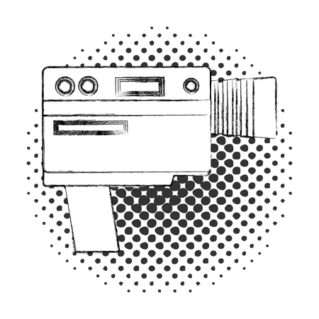 video camera device vintage image vector illustration  halftone 向量圖像