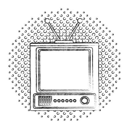 retro television vintage device image vector illustration  halftone