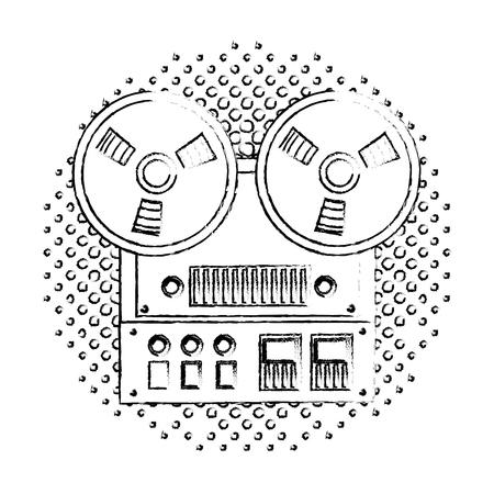 reel to reel tape recorder audio retro device vector illustration  halftone