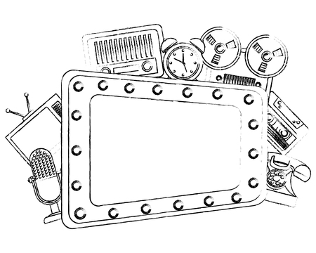 retro vintage billboard radio television headphones telephone cellphone devices vector illustration sketch Иллюстрация
