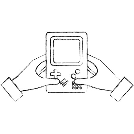 hand holding game console portable device vintage vector illustration  sketch