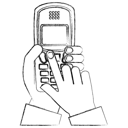 hand holding phone device vintage vector illustration sketch