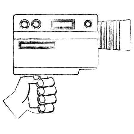 hand holding video camera device vintage vector illustration  sketch