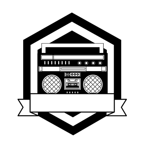 cassette radio player device vintage emblem vector illustration  Иллюстрация