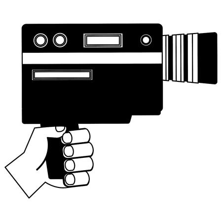 hand holding video camera device vintage vector illustration
