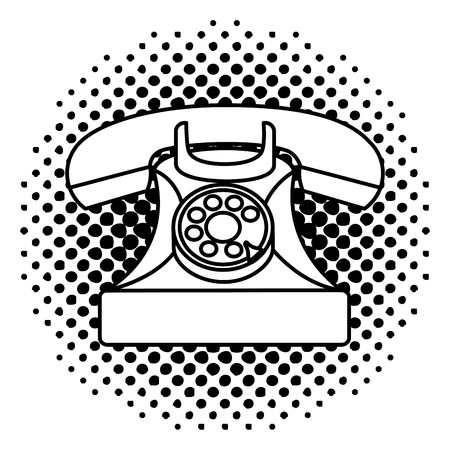 vintage telephone device communication retro vector illustration  halftone