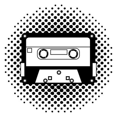 retro vintage cassette tape record music vector illustration  halftone 向量圖像