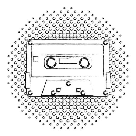 retro vintage cassette tape record music vector illustration  halftone Ilustração