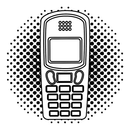 vintage retro device cellphone image vector illustration  halftone Ilustracja