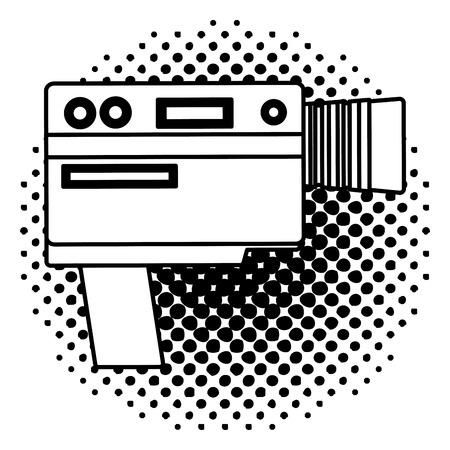 video camera device vintage image vector illustration  halftone Illustration