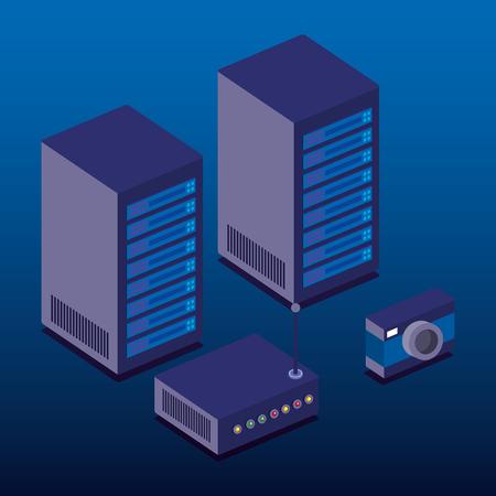data center technology isometric icons vector illustration design