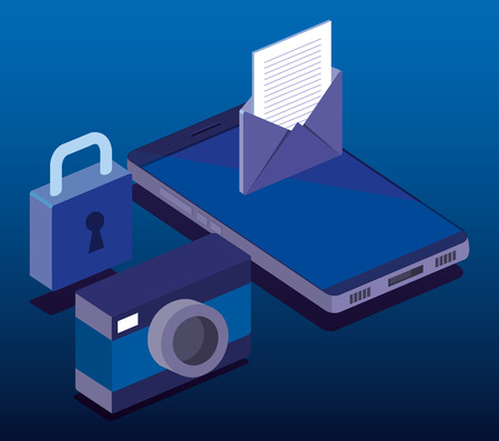 Cyber security isometrics iconen vector illustratie ontwerp Stockfoto - 102149183