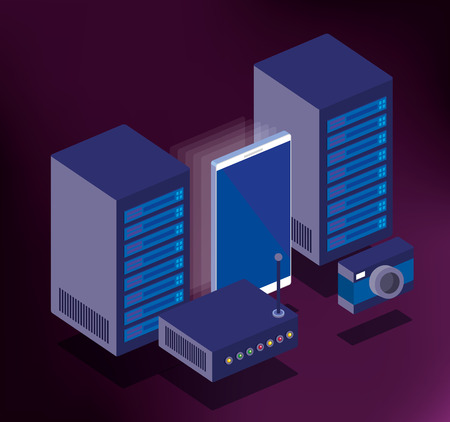data center technology isometric icons vector illustration design