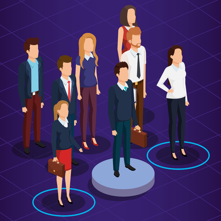 business people isometric avatars vector illustration design