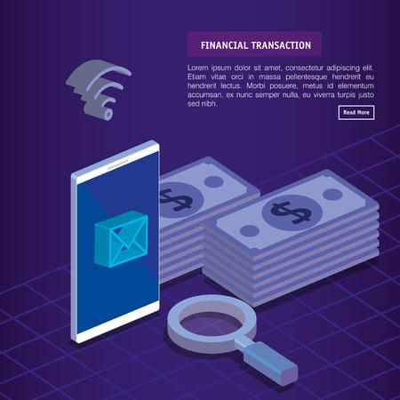 finacial transaction isometric set icons vector illustration design  イラスト・ベクター素材