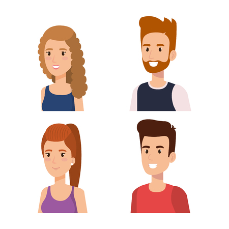 group of young people avatars vector illustration design Vectores