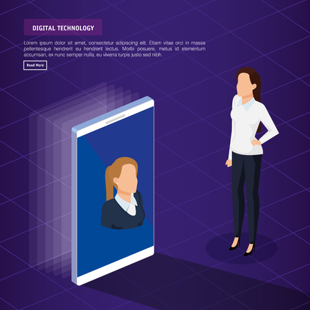 digital technology with business person isometric vector illustration design