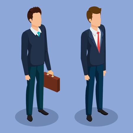 business men isometric avatars vector illustration design Ilustrace