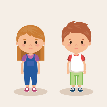little kids friendly characters vector illustration design