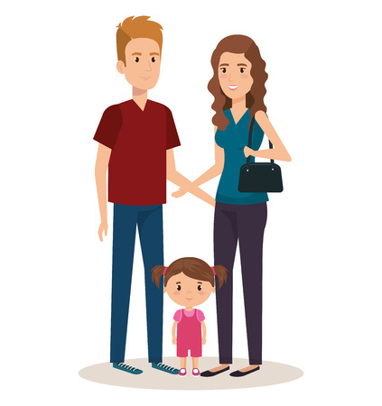 father and mother with daughter vector illustration design Иллюстрация