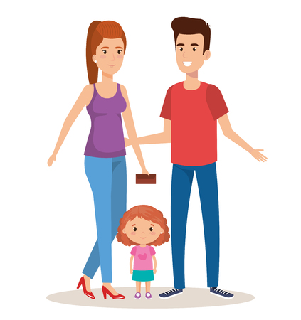 father and mother with daughter vector illustration design 向量圖像