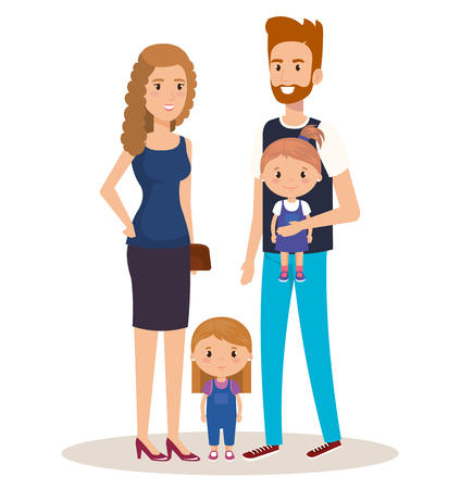 father and mother with daughters vector illustration design