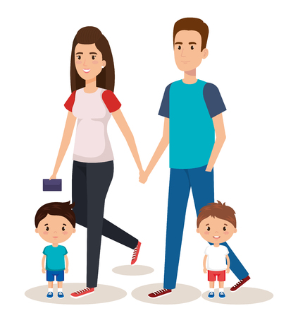 father and mother with sons vector illustration design 向量圖像