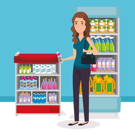 supermarket shelvings with woman buying vector illustration design Stock Vector - 102150317