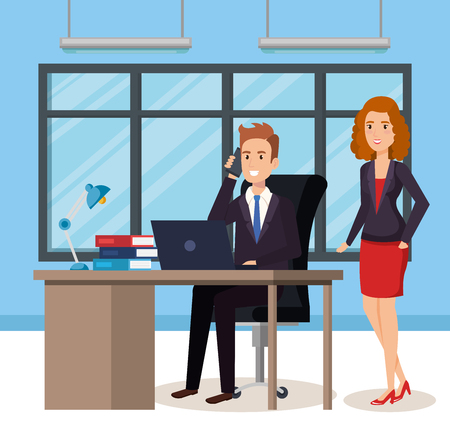 business people in the office isometric avatars vector illustration design
