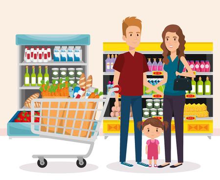 półki supermarketów z rodzinnym zakupem ilustracji wektorowych