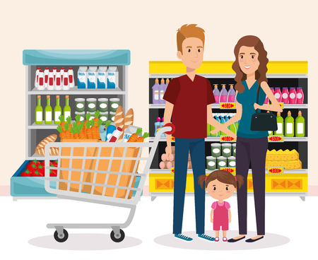 supermarket shelvings with family buying vector illustration design