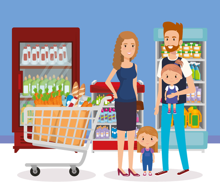 supermarket shelvings with family buying vector illustration design Stock Vector - 102150694