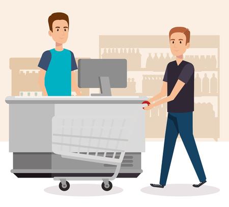 people in supermarket payment point vector illustration design Banque d'images - 102150697