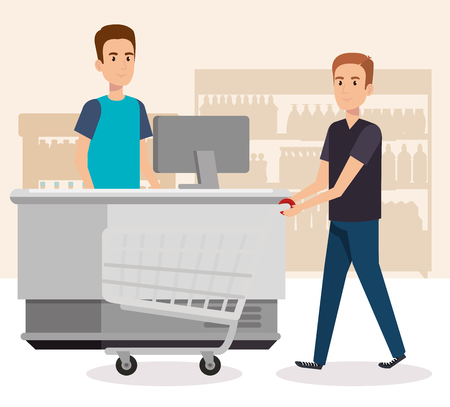 people in supermarket payment point vector illustration design