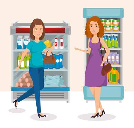 supermarket shelvings with people buying vector illustration design