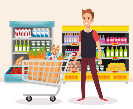 supermarket shelvings with man buying vector illustration design