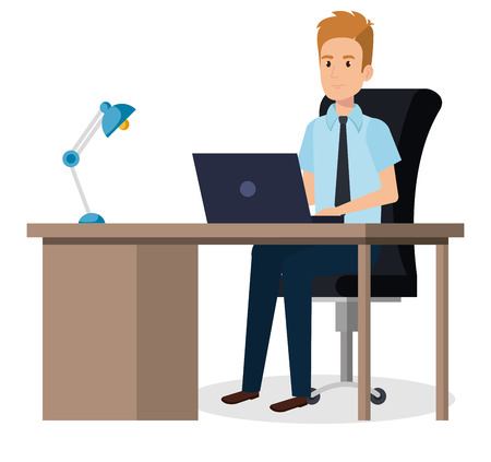 businessman sitting in the office vector illustration design Illustration