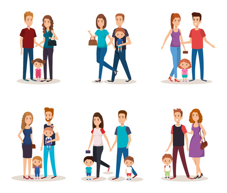 fathers and mothers with kids characters vector illustration design Illustration