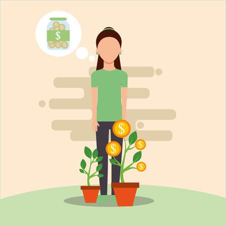 woman plant growth treasure saving money vector illustration