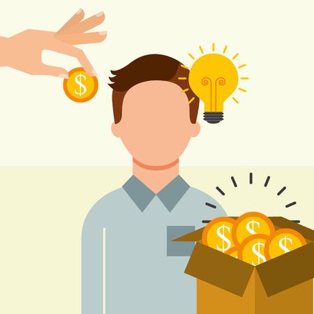 man with box filled coins money idea saving money vector illustration Illustration