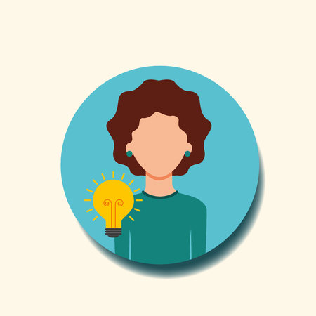 woman with bulb idea creativity vector illustration Ilustração