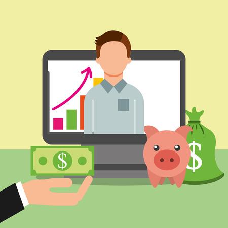 man in screen computer piggy bank banknote saving money vector illustration