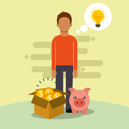 man box and piggy coins idea saving money vector illustration Ilustração