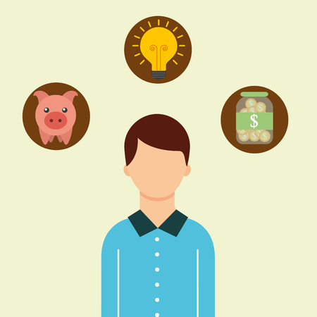 man portrait piggy bank coins creative saving money vector illustration Ilustração