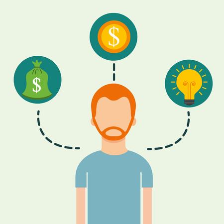 man portrait coins dollar ccreativity saving money vector illustration