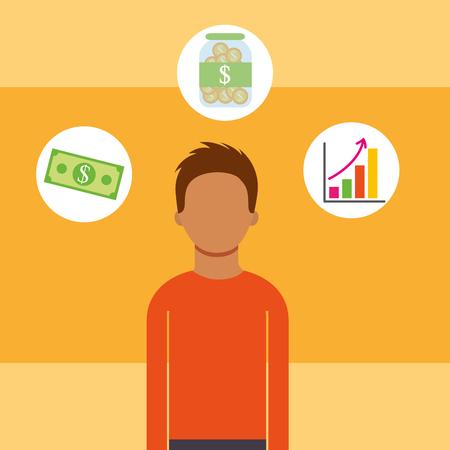man portrait business statistics banknote saving money vector illustration