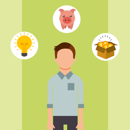 man portrait piggy coins creativity saving money vector illustration