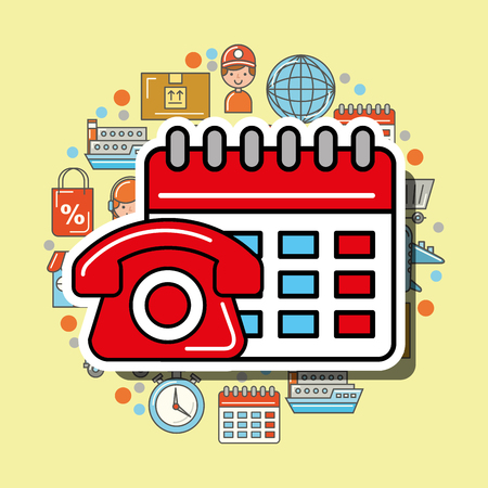 telephone and calendar service logistic and delivery vector illustration